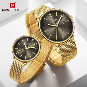 Naviforce NF-3012M Chaffer Chain Gold Color Couple Watch