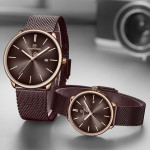Naviforce NF-3012M Chaffer Chain Purple Color Couple Watch