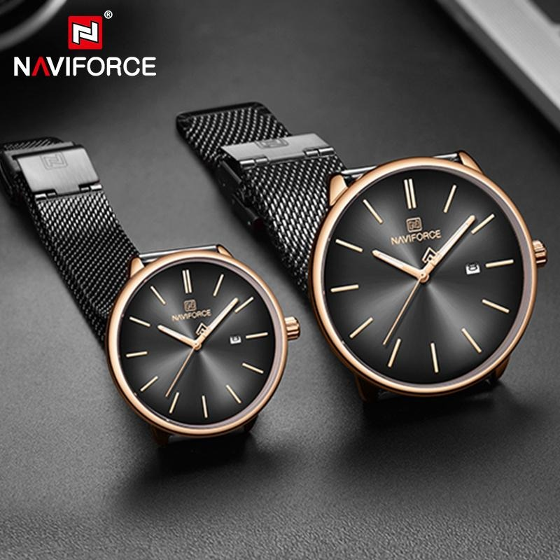 Naviforce NF-3012M Chaffer Chain Black Color Couple Watch