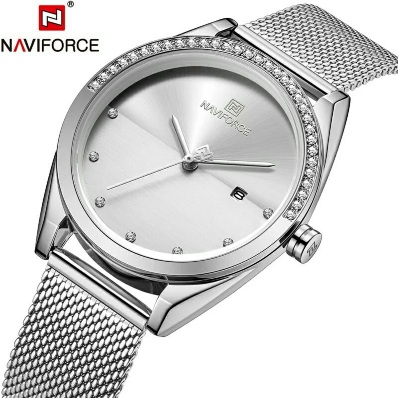 Naviforce NF-5015L Ladies Chain Strap Silver Color Watch