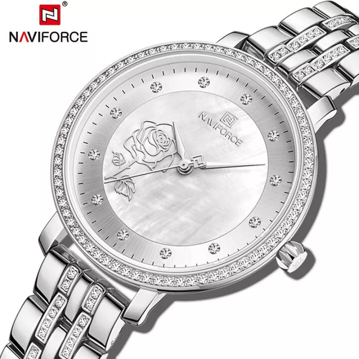 Naviforce NF-5017L Ladies Chain Strap Silver Color Watch
