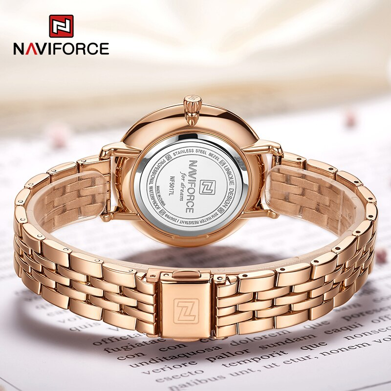 Naviforce NF-5017L Ladies Chain Strap Gold Color Watch