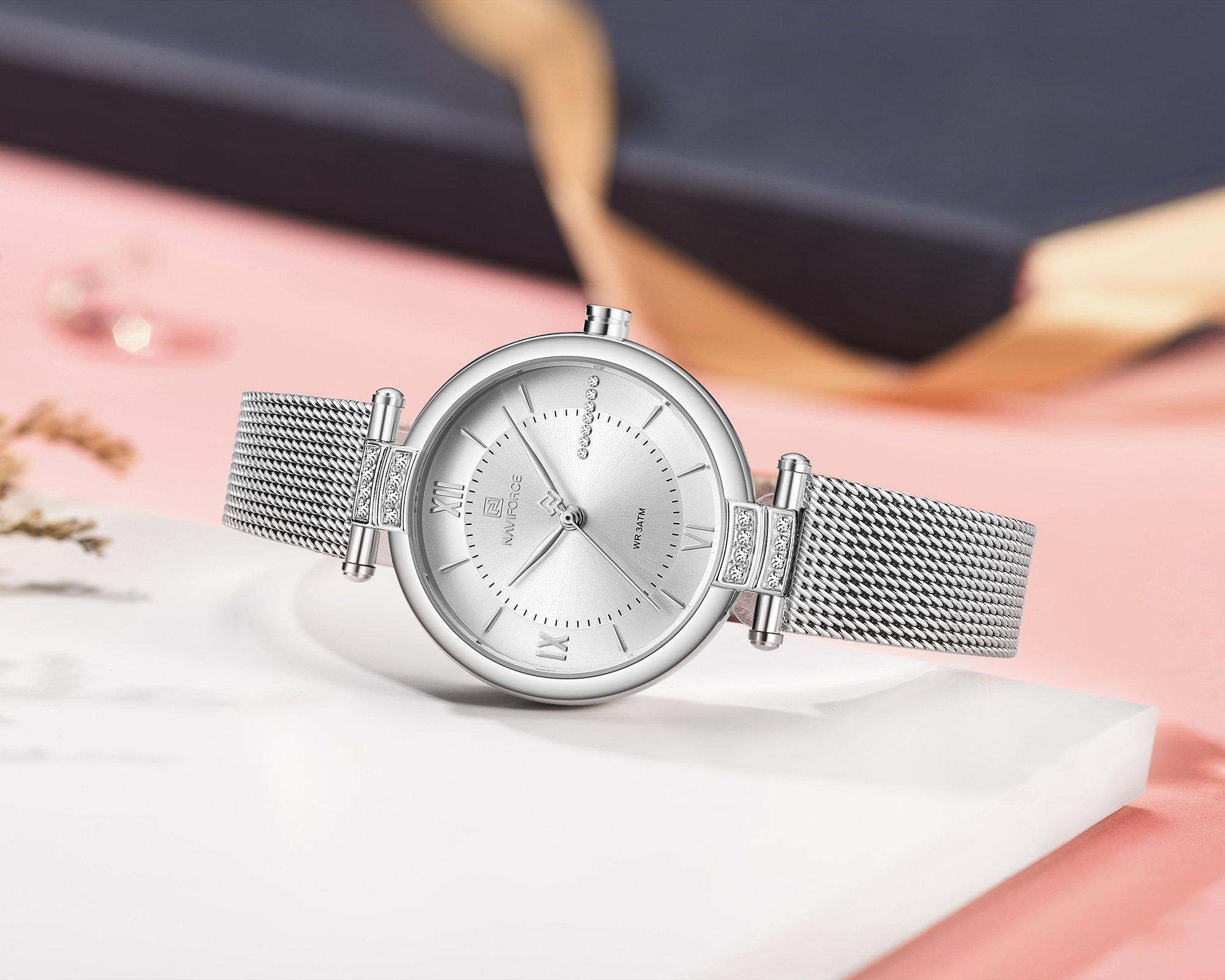 Naviforce NF-5019L Ladies Chain Strap Silver Color Watch