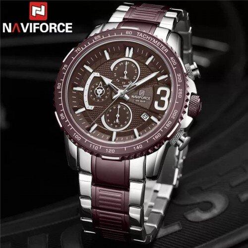 Naviforce NF-8017M Chronograph Chain Strap Purple Color Watch