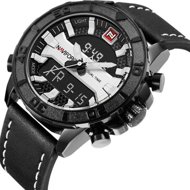 Naviforce NF-9114M Leather Strap Analog & Digital Watch