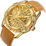 NAVIFORCE NF-9117M Leather Strap With Day & Date Gold Color Watch
