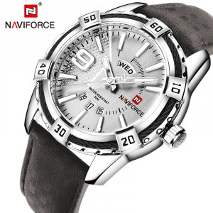 NAVIFORCE NF-9117M Leather Strap With Day & Date Silver Color Watch