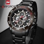 Naviforce NF-9174M Chronograph Chain Strap Black Color Watch