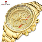 Naviforce NF-9184M Chronograph Chain Strap Gold Color Watch