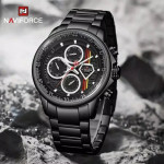 Naviforce NF-9184M Chronograph Chain Strap Black Color Watch