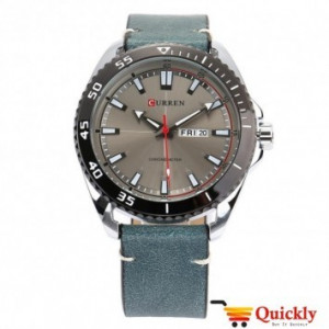 Curren M8272 Watch Leather Strap With Day & Date
