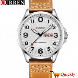 Curren M8269 Watch Leather Strap With Day & Date