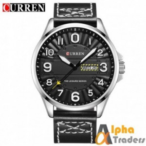 Curren M8269 Watch Leather Strap Black Color With Day & Date