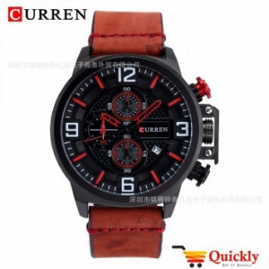 Curren M8278 Watch Leather Strap Chronograph With Date
