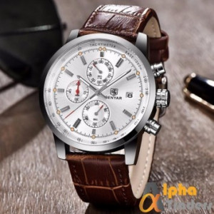 Benyar BY5129M Chronograph Watch Leather Strap With Date