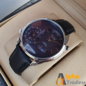 Original Omax S002 Double Time Blue Leather Strap Watch