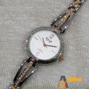 Omax JES974 Silver Rose Gold Color Bracelet Ladies Watch Stainless Steel
