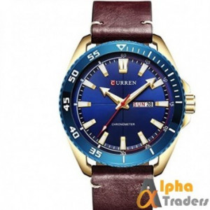 Curren M8272  Men's Watch red  Brown Leather Strap  blue diagonal