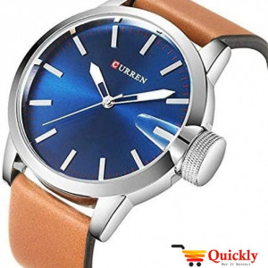 Curren M8208 Men's Watch  Brown Leather Strap  blue diagonal