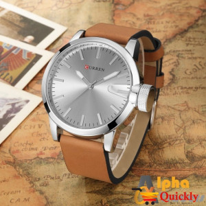 Curren M8208 Men's Watch  Brown Leather Strap grey diagonal