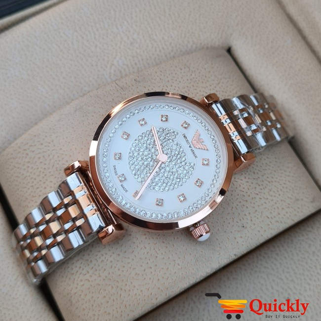 Emporio Armani AR-1840 Ladies Watch White & Gold