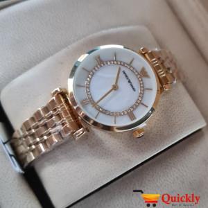 Emporio Armani AR-11206 Ladies Watch White & Gold