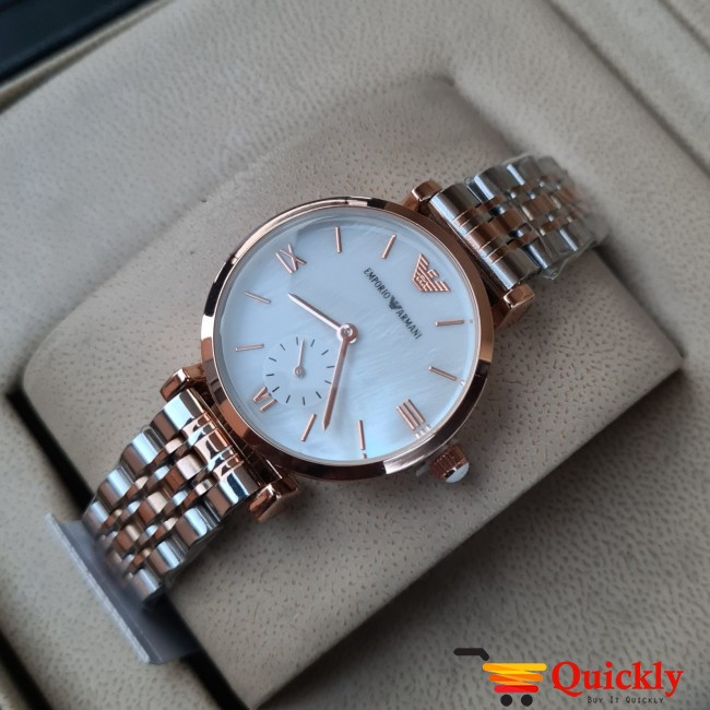 Emporio Armani AR-1840 Ladies Stylish White & Gold Wrist Watch