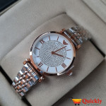 Emporio Armani AR-1840 Ladies Watch Wrist Stylish Watch White & Gold