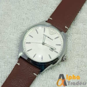 Emporio Armani Leather Strap Stylish Watch With Date
