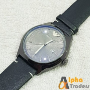 Emporio Armani Leather Strap Wrist Watch With Date