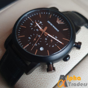 Emporio Armani AR-1840  Matte Black Chronograph Watch With Date