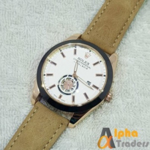 Rolex Watch Leather Strap Stylish Watch With Date