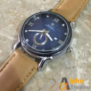 Rolex Oyester Perpatual Watch Leather Strap Wrist Watch With Date
