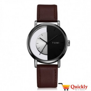Tomi T080 Men Leather Watch With Dark Brown Color