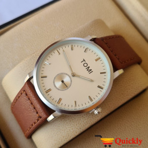 Tomi T073 Men Leather Watch With Brown Leather Strip