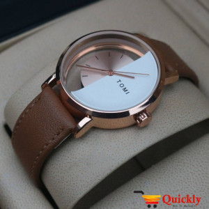 Tomi T080 Men Leather Watch Gold and White Color Amazing Features