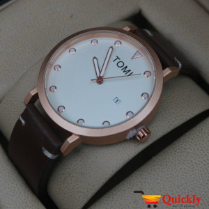 Tomi T074 Men Leather Watch Golden Dial
