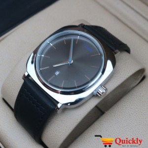Tomi T084 Men Leather Watch Black And Silver Dial