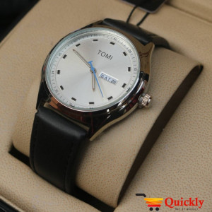 Tomi T030 Men Leather Watch Silver Dial And Date