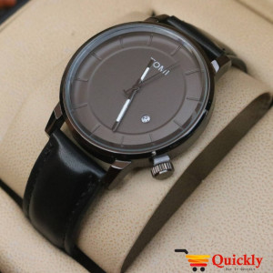 Tomi T101 Men Leather Watch Black Dial Amazing Watch