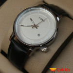 Tomi T101 Men Leather Watch With Silver Pure Dial and Black Leather Strip