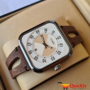 Tomi T094 Men Leather Watch With Brown Leather and White and Black Dial