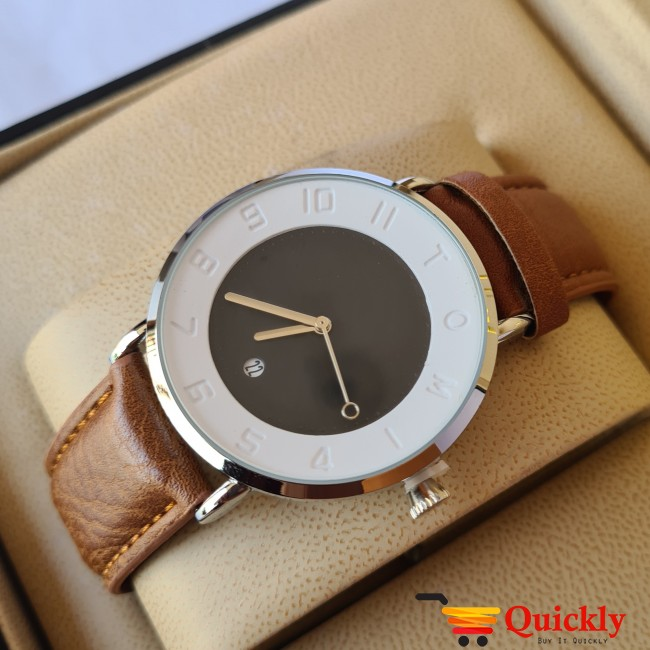 Tomi T065 Men Leather Watch With Brown Strip and Black and White Dial