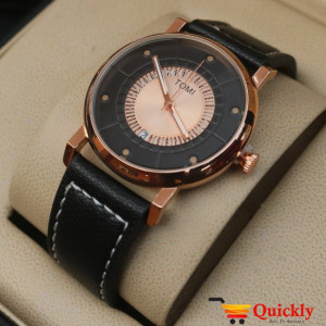 Tomi T033 Men Leather Watch With Black Leather and Golden or Black Dial