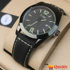Tomi T095 Men Leather Watch With Black Dial and Black Leather Strip