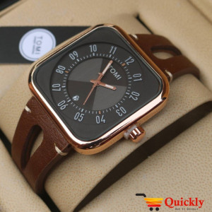 Tomi T094 Men Leather Watch With Black Amazing Dial