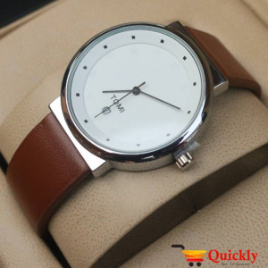 Tomi T091 Men Leather Watch With White Beautiful Dial