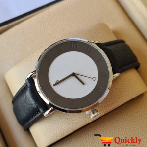 Tomi T065 Men Leather Watch With Black Strip and Black and White Dial
