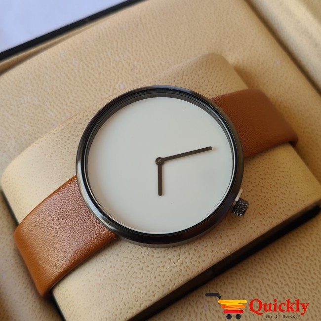 Tomi T078 Men Leather Watch With White Dial And Brown Strip