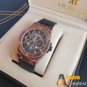 Hublot 882888 Men Leather Analog Watch For Special Deal